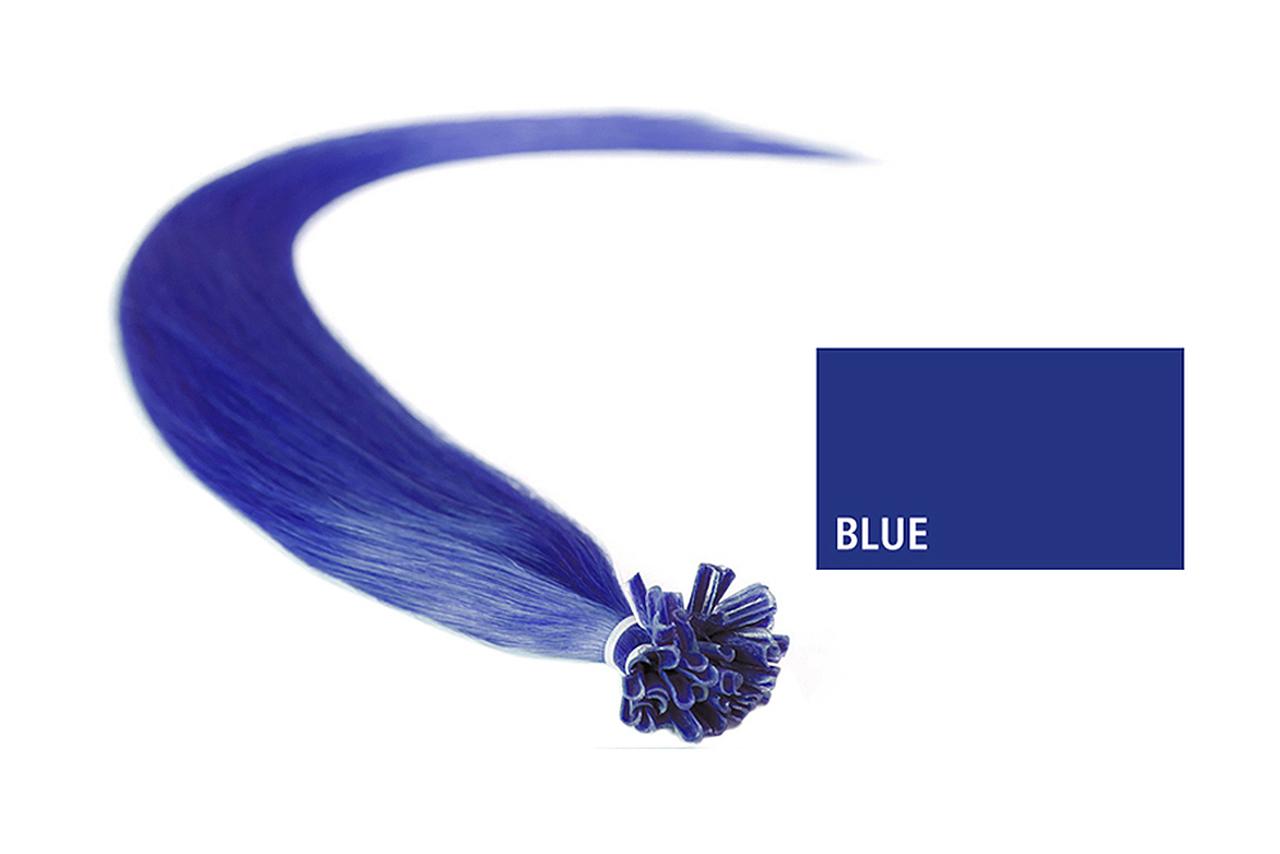 Extensões Cabelo 100% Humano Kayextensions Fantasia Azul 55 cm 10 Unidades