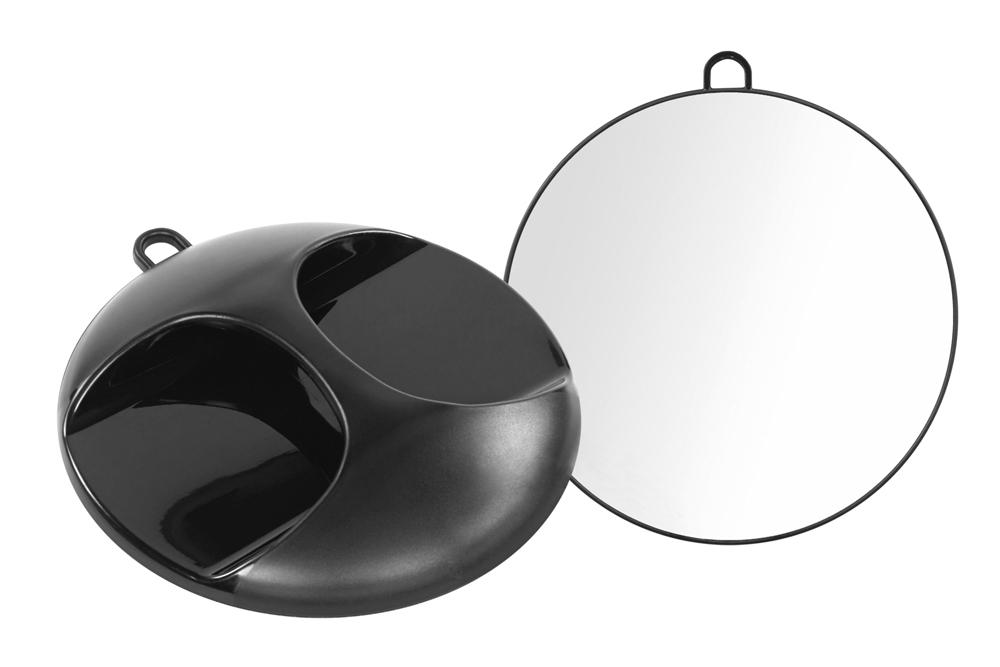 Espelho Rickiparodi Com Pega Plástico Preto 27,5 cm